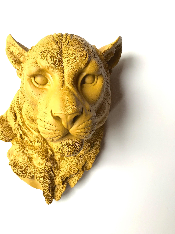YOSEMITE YELLOW Large Faux Taxidermy Mountain Lion Head wall mount ...