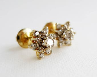 Small Vintage 14K Gold Rositas Diamond Flower Earrings from the Philippines