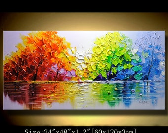 contemporary wall art, Palette Knife Painting,colorful tree painting,wall decor  Home Decor,Acrylic Textured Painting ON Canvas by Chen 0119