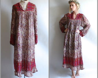 Indian Maxi Dress Vintage Indian Dress 1970s Dress 70s Dress India Gauze Dress Festival Dress Hippie Dress Hippy Dress Bohemian Dress S M L