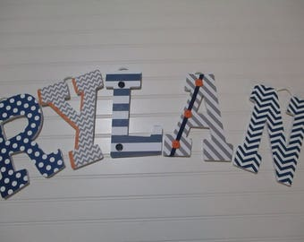 "RYLAN - 12.00 PER LETTER boy's name, 9"" wooden nursery letters, navy blue and gray, orange, navy chevron, gray chevron, navy polka dots"