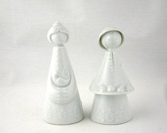 Vintage Haviland Limoges Porcelain Girl Figurine Pair, Mid Century Holiday
