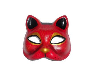 Paper mache handpainted masks  Party time Red Cat mask Gift for everyone Adult mask