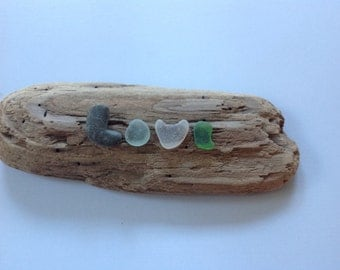 "Genuine Sea Beach Glass ""LOVE"" Letters Mounted on Driftwood Handmade Handcrafted"