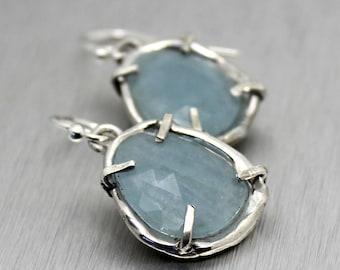 aquamarine earrings, rose cut earrings, sterling silver, silver earrings, dangle earrings, organic jewelry, recycled silver