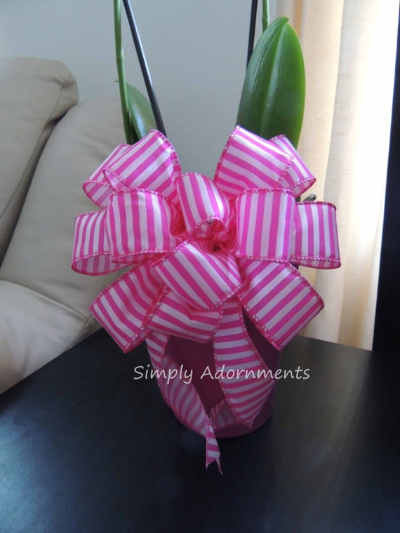Pink Green Plaid Bow Pink Green Spring Plaid flower gift basket Bow Spring Wedding Gift Wrap Bow Wedding Church Pew Bow Party Decor Bow
