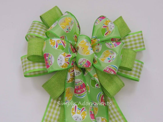 Lime Check Easter Bunny Wreath Bow Happy Easter Lantern Bow Easter Eggs Door Hanger Green Easter Party Decor Easter Bunny Basket Gift Bow