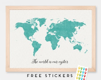 World Map Chevron Art Print Poster Aqua - Gray - Wall Hanging - Housewarming - Large World Map