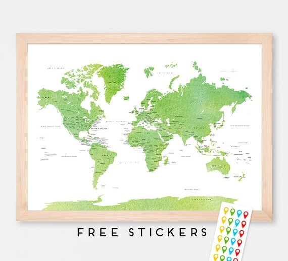 World map green watercolor political art print map poster like this item gumiabroncs Choice Image