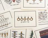 12 Days of Christmas Stationary Set - Elle Karel Illustration Prints