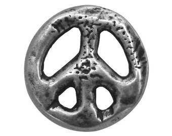 6 Organic Peace Sign 7/8 inch ( 23 mm ) Dill Metal Buttons Silver Color