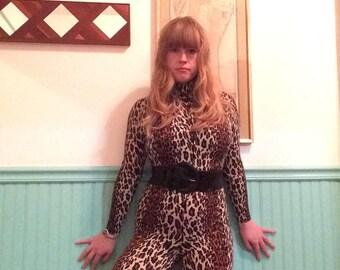 RESERVED 1960s Vanity Fair Leopard Jumpsuit Catsuit sz M