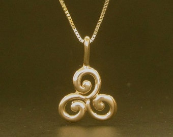 Triskele Spiral 14k yellow or ROSE gold pendant, Celtic solid gold necklace, made in USA