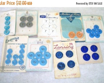 ON SALE Vintage Buttons on the Original Cards assorted colors mostly Blue Buttons Sewing Supplies, Craft Supplies