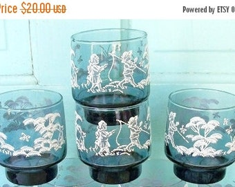 ON SALE Vintage Small Libbey Drinking Glass Navy Blue with white and gray boy with fishing pole and girl butterflies trees set of 4