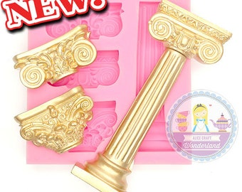 3 in 1 Greek Roman Pillar Architecture Column Silicone Mould Mold 499L Fondant Cake Gum Paste Scrapbooking Food Safe 499L BEST QUALITY