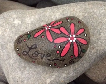 Happy Rock - Love - Hand-Painted River Rock Stone - Deep Pink Daisy Cosmos Echinacea - Stocking Stuffer