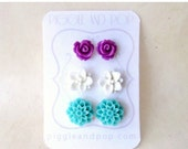 Flower Stud Earrings Set with Plum Purple Rose Earrings, White Lotus and Aqua Mum Cute Studs. Hypoallergenic Earrings in Colorful Gift Set.