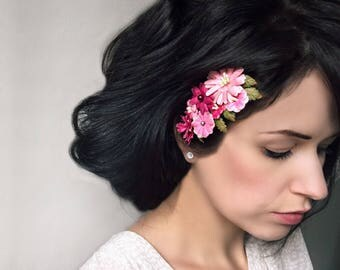 Flower Hair Comb, Pink Floral Comb, Fuschia Fascinator, Wedding Comb, Bridesmaid Accessories, Pink Flower Hair Piece, Bridal Hair Piece