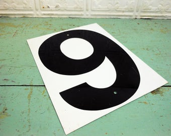 Vintage Metal Number Sign Black and White 9 and 0, Nine and Zero Sign