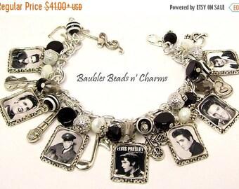 ON SALE Elvis Presley Charm Bracelet, Elvis Bracelet, Elvis Charm Necklace, Elvis Jewelry, Statement Bracelet, Accessories, Rock and Roll