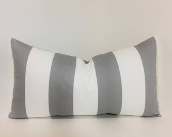 "Grey white stripe pillow cover. 12x 22"" lumbar accent pillow cover. wide stripe grey and white home decor. throw pillows"