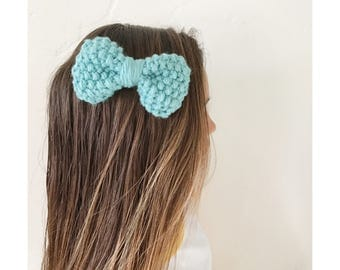 Light Aqua knit bow clip, chunky knit large bow