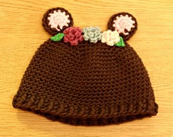 Wool bear hat, child size