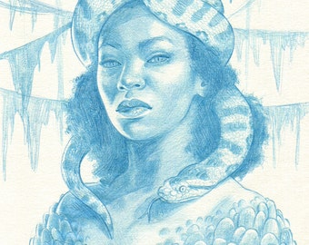 Original Drawing - Ophidia Snake Woman