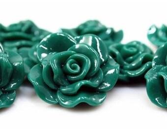 Resin Cabochon - 5pcs - Flower Cabochon - Emerald Green Flower Cabochon - Cabochon - SW005-18