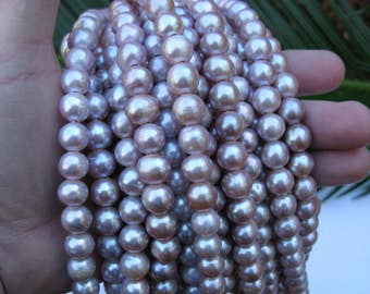 Large Hole Pearls 10mm  Round Mauve Natural Fresh water Pearl strand FREE shipping