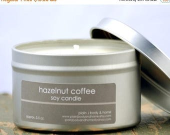 ON SALE Hazelnut Coffee Soy Candle Tin 8 oz. - coffee soy candle - hazelnut soy candle - food soy candle - fall soy candle - holiday soy can