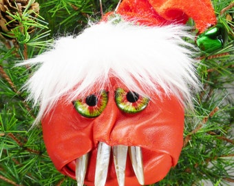 Christmas Ornament Decoration Hand Made Tree Goblin Monster Yule Krampus One Of A Kind Handcrafted Leather