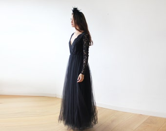 Black tulle and lace long sleeves gown, Tulle and lace black maxi dress 1125