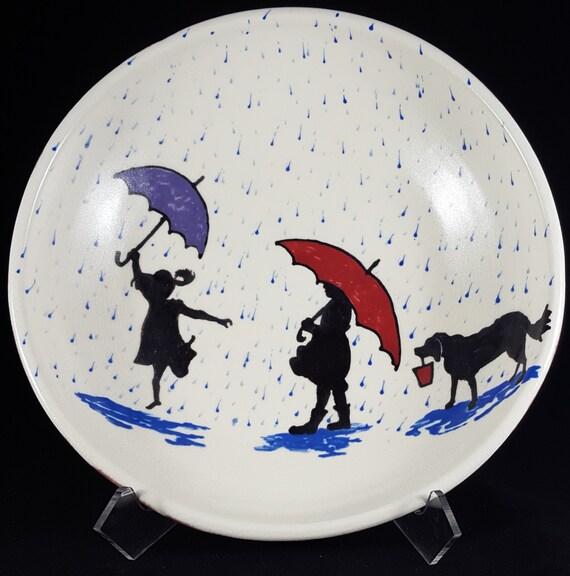 "Rainy Day Porcelain Bowl 10"""