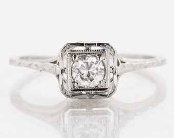 Antique Engagement Ring - Antique 14k White Gold Square Top Diamond Engagement Ring