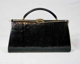 Exotic Leather Vintage 1970 Real Snakeskin Leather Clutch Bag With Retractable Handle