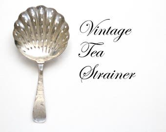 TEA STRAINER, Vintage, Silver Plated, Basket Tea Strainer, Victorian, High Tea Party, Tableware, Collectible