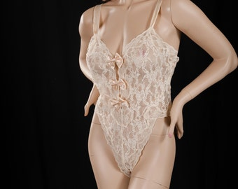 Vintage Victoria's Secret Cream Sheer Lace Teddy Lingerie Size Medium Satin Trim