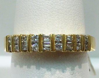 Baguette and Round Diamond Band in 14K Yellow Gold