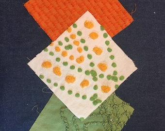 "20 6"" Green, Orange and Cream Vintage Chenille Squares"
