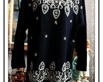 Beaded Gold & Silver Black Sweater - Flowers Hearts Horseshoes -  Vintage Black Knit Pull Over made by Victoria Jones  CLO-133a-110813001
