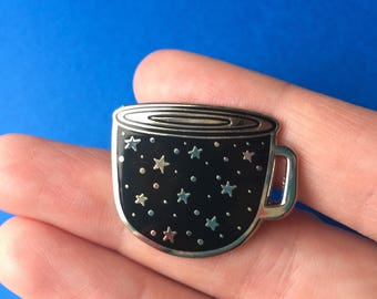 Enamel pin / Midnight cuppa enamel pin / cup enamel pin / stars enamel pin / lapel pin / constellation enamel pin