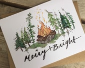 6 Holiday Greeting Cards / Northwest Holiday Cards / Merry Campfire