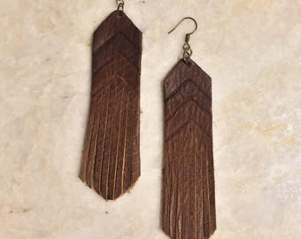 leather fringe Sonoma earrings // western // ombre // boho chic // savannah western chic // 7s