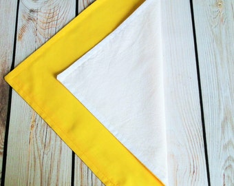 7x7 PENCIL YELLOW cloth napkin, fabric dinner napkin, reusable yellow table napkins, ready to ship