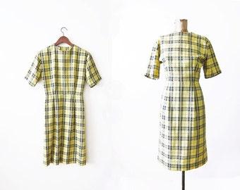 1960s Dress / Vintage 60s Dress / Wiggle Dress / Joan Mad Men Dress / Sheath Dress / Rockabilly Dress / Yellow Plaid Dress / 60s Dress Small