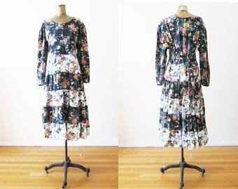 90s Dress / 90s Floral Maxi Dress / Black Rose Print / Long Sleeve Maxi Dress / Midi / Full Skirt / Large