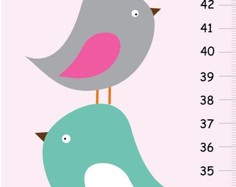 Birds Personalized Growth chart - Stacked birds in pink and aqua