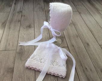 Hand knitted baby Bonnet and Skirt ,Newborn Ptoto Prop,Baby  shower,Baby  girl set,Girl skirt,Girl bonet,Mohair set